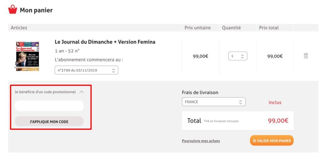 code promo Le Journal Du Dimanche