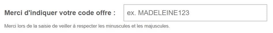 code promo madeleine